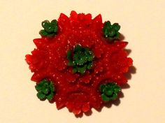 Vintage Celluloid Flower Button Realistic Bright Red and Flower Button, Green Flowers, Red Green, Buttons, Bright, Fruit, Handmade, Vintage, Craft