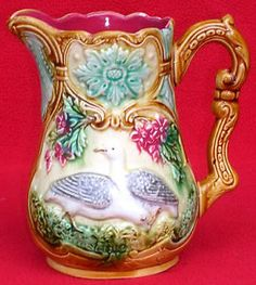 AUTHENTIC-FRENCH-ONNAING-MAJOLICA-PARTRIDGE-PITCHER-C-1880