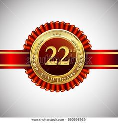Celebrating 22nd anniversary logo, with golden badge and red ribbon isolated on white background.