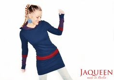 Hoodiekleid Baumwolle Streifen Kapuze von Jaqueen auf DaWanda.com