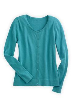 Organic Fair Trade Jewel Neck Cardigan - Sweaters - Women (I like all the colors.)