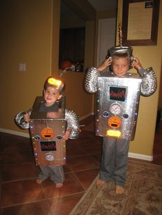 Bro-Bots Robot costume - so cute!    Must use our red target flasher lights on our costume