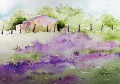 Lavender Field Watercolor Painting by RoseAnn Hayes.  This is a painting of an old French farmhouse next to a field of lavender. Prints are available in my Etsy shop.