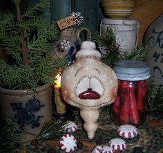 "Primitive Patti's Ratties Doll 7"" Snowman Snowflake Frosty Christmas Ornament"
