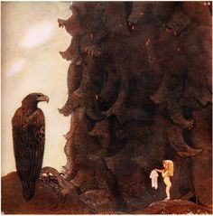 """Illustration by John Bauer for a tale by Helena Nyblom in """"Bland tomtar och troll"""" ed) Cutting Edge Stencils, Children's Book Illustration, Botanical Illustration, John Bauer, Fairytale Art, Fantasy Dragon, Arte Popular, Medieval Fantasy, The Villain"""