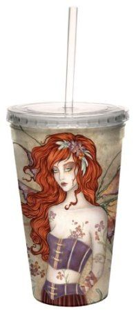 Amazon.com: Tree-Free Greetings cc33564 Sweet Wall Flower Fairy Artful Traveler Double Walled Cool Cup with Reusable Straw by Amy Brown, 16-...