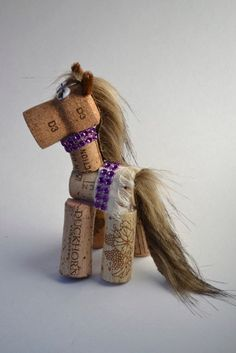 Horse Wine Cork Pony Ornament Gift Purple by DiVineWineCorks
