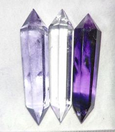 : quartz - double ended crystals. On the right: Amethyst is a purple variety of quartz and owes its violet color to irradiation, iron impurities (in some cases in conjunction with transition element impurities), and the presence of trace elements Amethyst Quartz, Quartz Crystal, Purple Amethyst, Amethyst Birthstone, Amethyst Jewelry, Minerals And Gemstones, Rocks And Minerals, Mystique, Mineral Stone