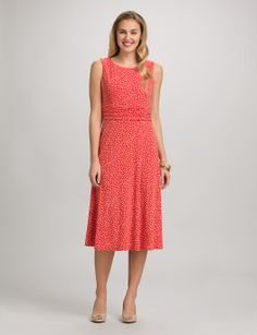 Misses | Dresses | Ruched Polka Dot Dress | dressbarn