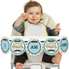 Dashing Little Man High Chair Banner First by BigDotOfHappiness, $12.99