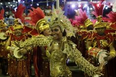 Drum queen Luana Bandeira, from Estacio de Sa samba school. Performing at Rio Carnival.