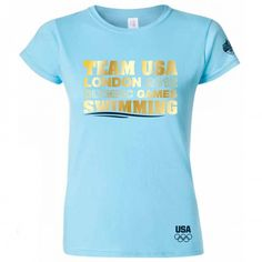 """$26.00  2012 Olympics NBC Team USA Swimming Women's T-Shirt.  This exclusive 2012 Olympics NBC Team USA Swimming Women's T-Shirt features """"Team USA London 2012 Olympic Games Swimming"""" on the front with the USA Olympic logo on the bottom left-hand side and the official NBC London 2012 logo on the left sleeve."""