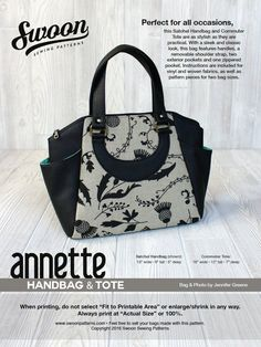 c0bdb506f3 Swoon Patterns  Annette Satchel Handbag   Commuter Tote - PDF Travel Bag  Large Crossbody Purse Tote Handbag Sewing Pattern