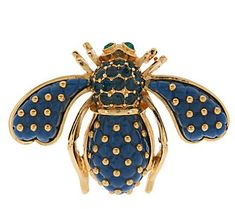 Joan Rivers Blue Quilted Bee Pin $44 on QVC.com