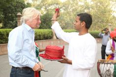Richard Branson being welcomed, at the Taj Mahal Hotel, New Delhi.