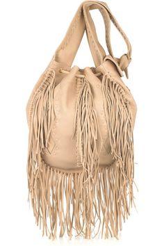 ..a bohemian Fringe leather natural purse ..☮
