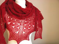 Cute Cherries hand knitted shawl cashmere by sweetflowers on Etsy