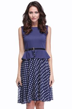 Women's Vintage Boho Belted Polka Dot Party Wear To Work Chiffon Tunic Dress