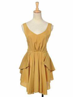 Anna-Kaci S/M Fit Golden Yellow Classic Romantic V-neck Semi Formal Dress