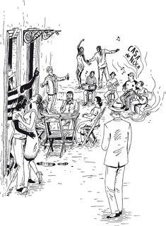 Casa de Noca  Estampa da coleção da estamparia Mumbak para a Casa de Noca, casa noturna de Florianópolis. A casa é especializada em música brasileira, especialmente o samba. Neste trabalho, fiquei incumbido de representar este estilo de música de modo realista. Desenvolvi uma cena típica dos botecos brasileiros, com personagens clássicos de festas de samba.