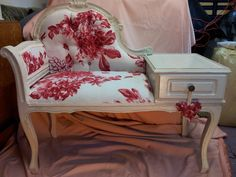re-upholstered and distressed chaise telephone table