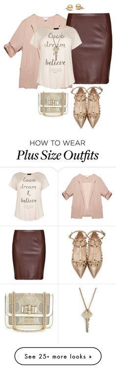 """plus size night out"" by kristie-payne on Polyvore featuring Wet Seal, Studio, Valentino, Christian Louboutin and The Giving Keys"