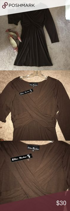 SOFT BROWN DRESS, with criss  cross front Darling soft brown dress, and in between a mini and midi! It's a soft criss cross at the breast, and really oh so cute!! ELLEN PARKER Dresses