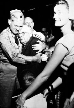 Repatriated (Korea) POW Captain Frederick Smith was greeted by his father on his arrival at Fort Mason, California in September Frederick Smith, Fort Mason, Korean President, Historical Images, Korean War, Dance Class, World War Ii, Troops