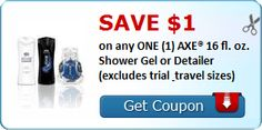 SAVE $1.00 on any ONE (1) AXE® 16 fl. oz. Shower Gel or Detailer (excludes trial & travel sizes) : #CouponAlert, #Coupons, #Printablecoupons Check it out here!!