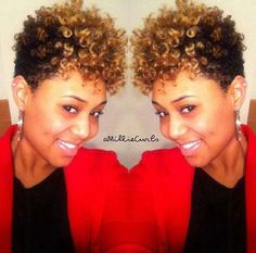 Follow my boards for more glam! Natural hair updo. Black and blonde soft curly short hairstyles.
