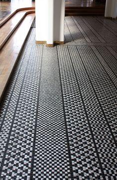 Floor in suite bathroom- Emi's room arne jacobsen / aarhus town hall, denmark Architecture Details, Interior Architecture, Interior And Exterior, Arne Jacobsen, Aarhus, Floor Patterns, Tile Patterns, Floor Design, House Design