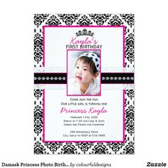 Shop Damask Princess Photo Birthday Invitations created by colourfuldesigns. Princess Party Invitations, Photo Birthday Invitations, Zazzle Invitations, Crown Illustration, Princess Photo, Gift Cake, White Envelopes, Damask, First Birthdays
