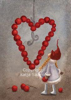 Katja Saario Christmas Tale, Christmas Ornaments, Christmas Illustration, Love Valentines, Gnomes, Illustrators, Berries, Dolls, Holiday Decor