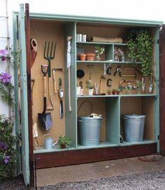 Do you have 18 inches of extra space in your garage? Get your measuring tape and check, because I am telling you this mini garden shed has changed my life. Here's how to make your own: shed design shed diy shed ideas shed organization shed plans Garden Shed Diy, Garden Storage Shed, Storage Shed Plans, Diy Shed, Garden Tools, Small Garden Storage Ideas, Tiny Garden Ideas, Tiny Shed Ideas, Small Garden With Shed