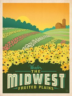 Macy's Flower Show: Midwest - This classic print is part of a series of posters called America the Beautiful. Six different regional designs were created for the 2016 Macy's Flower Show. Printed on gallery-grade matte-finished paper, this lovely Midwest print will add an adventurous touch of floral beauty to any home or office wall.