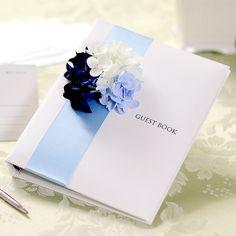【結婚式で使いたい芳名帳】フラワーゲストブック「ハイドレンジアブルー」カードタイプ http://www.farbeco.jp/guestbook.html