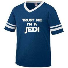 Trust Me Im A Jedi Funny Movie Star Wars Yoda Luke Skywalker Mens RINGER T-shirt Tee (Large NAVY BLUE / WHITE)