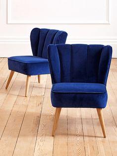 NEW Westbury Velvet Chair - Navy