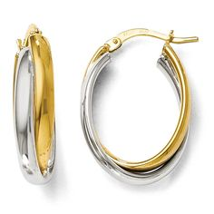 Italian 14k Gold Polished Twisted Hinged Hoop Earrings, Women's