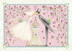 Folded wedding card by Mila Marquis by MarquisWonderland on Etsy Art Et Illustration, Illustrations, Couple Illustration, Happy Anniversary, Anniversary Cards, Wedding Images, Wedding Cards, Art Fantaisiste, Art Carte