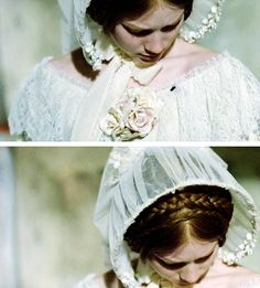 Center part with the braids Bronte Sisters Books, Charlotte Bronte Books, Jane Eyre 2011, Jane Austen Movies, Little Dorrit, Mia Wasikowska, Beautiful Costumes, Anne Of Green Gables, Movie Costumes