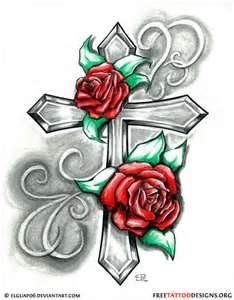 Tattoos Of Crosses With Roses