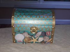 Metallic, Mermaid Scales Treasure Chest, Ring Bearer Box, Gift Box, Custom Made w/Nautical Net and Shells Ocean Crafts, Seashell Crafts, Beach Crafts, Treasure Chest Craft, Treasure Boxes, Mermaid Theme Birthday, Girl First Birthday, Mermaid Room, Mermaid Scales