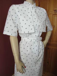 VINTAGE GARROULDS ENGLAND WHITE CAPE TOP DRESS UNIFORM NANNY NURSE 50s RETRO