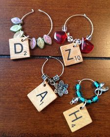 Scrabble tile wine markers with instructions. (Make into key chains) Scrabble Letter Crafts, Scrabble Tile Crafts, Scrabble Letters, Cork Crafts, Scrabble Ornaments, Wine Glass Markers, Wine Glass Charms, Bijoux Diy, Hobbies And Crafts