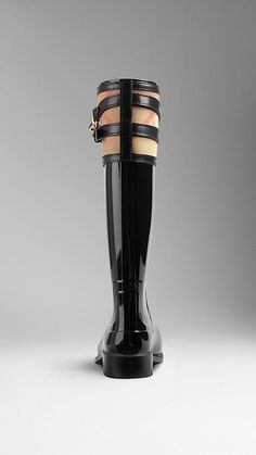 Burberry Black House Check Buckle Detail Rain Boots - Refined patent-effect weatherproof rain boots. House check cotton top panel with wrapped leather strap and polished metal buckle detail. Practical rubber grip sole. Discover the shoes collection at Burberry.com