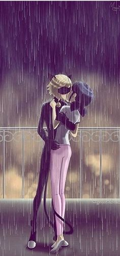 If in season Adrien tells marinette that he loves someone else and if ladybug tells chat noir that she loves someone one else. And then they would fall in love. Cat Noir Cosplay, Lady Bug Y Chat Noir, Thomas Astruc, Mlb, Marinette Et Adrien, Kissing In The Rain, Ladybug Comics, Fan Art, Boyfriend Goals