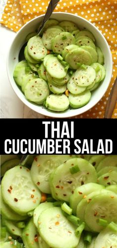 Thai Cucumber Salad - This Thai Cucumber Salad is a light, refreshing side dish that is full of flavor without a ton of ingredients. recipes for dinner Thai Cucumber Salad, Cucumber Recipes, Veggie Recipes, Asian Recipes, Great Recipes, Vegetarian Recipes, Cooking Recipes, Healthy Recipes, Cucumber Ideas
