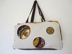 Sac zippé tissu motif africain patchwork wax multicolore (envoi 0€) : Sacs à main par cewax