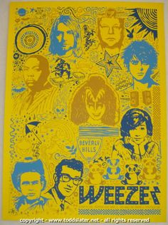 Weezer w/ Angels & Airwaves and Tokyo Police Club - silkscreen concert poster (click image for more detail) Artist: Todd Slater Venue: Broomfield Event Center Location: Broomfield, CO Concert Date: 10